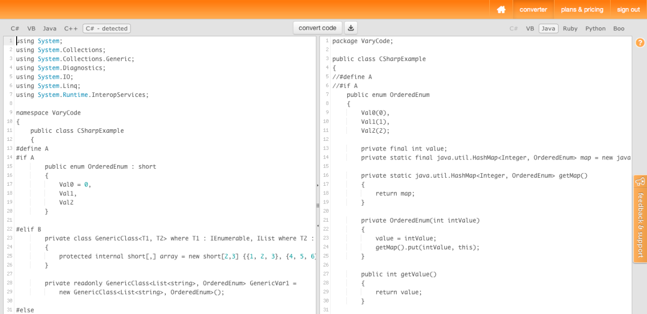 VaryCode Converter- C# -- Java